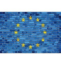 Flag of Europe on a brick wall vector