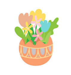 flat pastel flowers in colored easter egg vector image