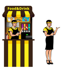 food stall and waitress vector image