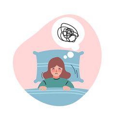 Frustrated girl with bad sadness thoughts vector