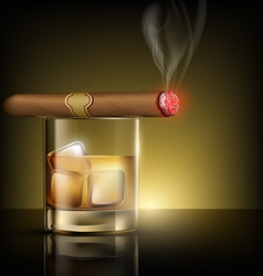 Glass of whiskey with ice cubes and cigar vector