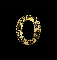 golden ornamental alphabet letter o font vector image