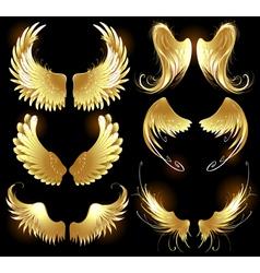 golden wings angels vector image
