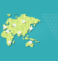 green asia and europe pixel map with empty bubbles vector image