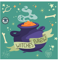Halloween witches brew in a cauldron vector