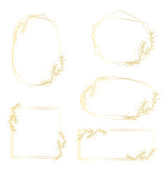 Hand drawing golden frame collection vector