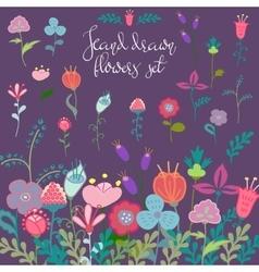 Hand drawn flowers set vector image