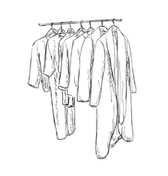 Hand drawn wardrobe sketch Cartoon clothes vector
