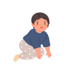 Happy baby crawling little child moving on knees vector