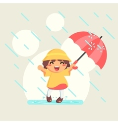 Happy cute Girl in raincoat with umbrella in vector