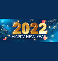 happy new 2022 year elegant gold text with bokeh vector image