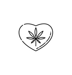heart symbol with marijuana leaf inside line icon vector image