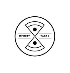 infinity taste italian pizza round logo vector image