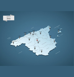 Isometric 3d spain map concept vector