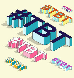 Isometric hashtag - tbt throw back thursday vector