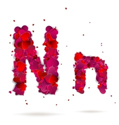 Letter n made from hearts Love alphabet vector