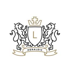 lion coat arms heraldic logo icon vector image