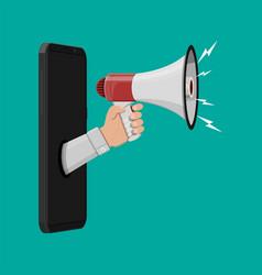 Loudspeaker or megaphone smartphone vector