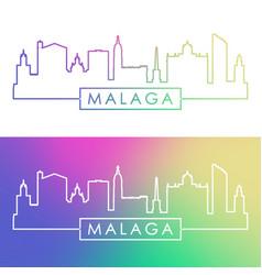malaga skyline colorful linear style editable vector image