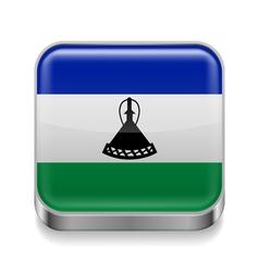 Metal icon of Lesotho vector