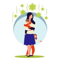 mom protecting kids from coronavirus woman in vector image