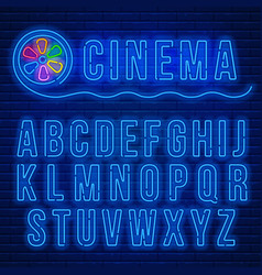 Neon latin alphabet vector