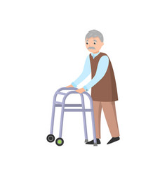 old man with grey mustache use walker to move vector image