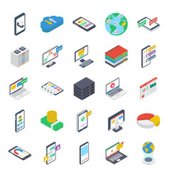 Online communication isometric icons pack vector