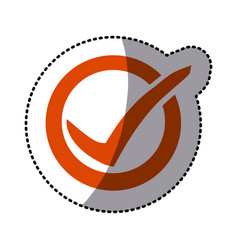 Orange symbol round with ok mark icon vector