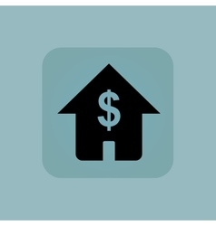 Pale blue dollar house icon vector