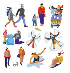 people during winter holidays outdoors activities vector image