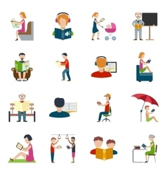 People Reading Icons Set vector image