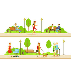 people relaxing and doing sports in public vector image