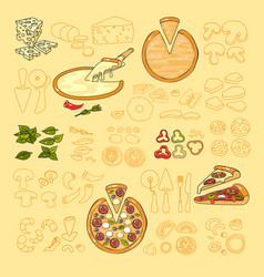 Pizza icon set of cute various pizza ingredient vector