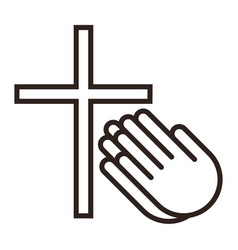 praying hands and cross prayer icon vector image