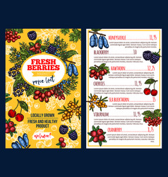 Price with fresh berries vector