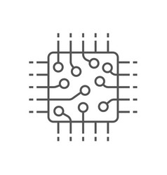 processor icon cpu gpu chip technology vector image