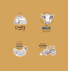 retro set of farm fresh logotypes vector image