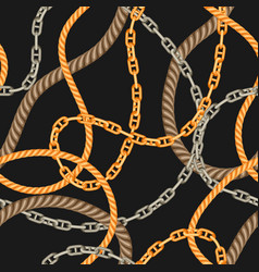 Seamless pattern with old chains and ropes vector