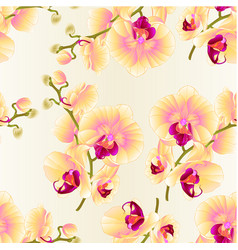 Seamless texture branch orchids yellow flowers vector