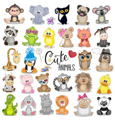 Set of cute cartoon animals vector