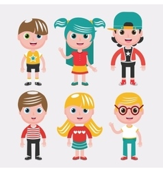 Set of kids on white backgroundDifferent dress vector