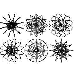 Set of spirograph circular shapes vector