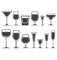 Set of wineglass and glass different shapes vector
