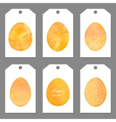 set tags for easter watercolor silhouettes eggs vector image