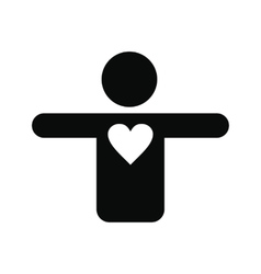 Silhouette of a man with a heart icon vector image