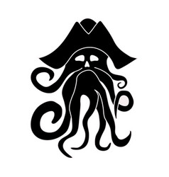 Silhouette of giant octopus on a white background vector