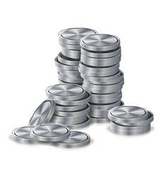 silver coins stacks silver finance icons vector image