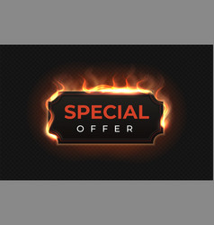 special offer fire label realistic burned vector image