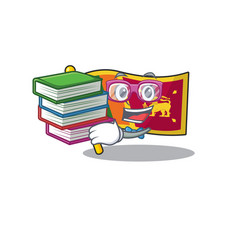 Student bring book character on cartoon flag vector